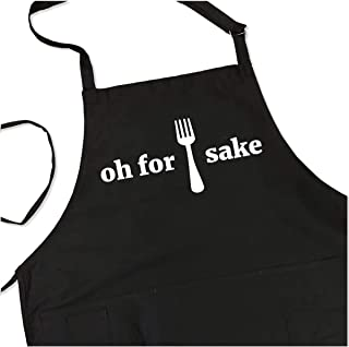 For Forks Sake Apron - Funny Saying BBQ Grill Apron - 1 Size Fits All Chef Quality Poly/Cotton with 4 Utility Pockets, Adjustable Neck and Extra Long Waist Ties