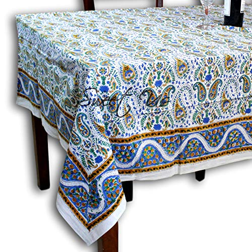 Hand Block Print Paisley Floral Tablecloth for Square Tables Cotton Table Linen Beach Sheet Beach Throw Gold Blue White 72 x 72 inches
