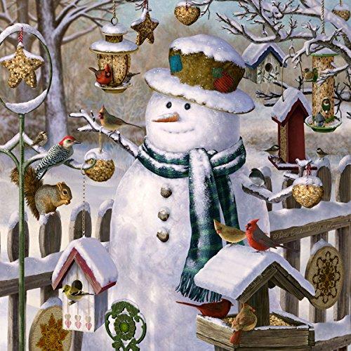 20 Servietten Schneemann umgeben von Vögel / Schnee / Winter / Weihnachten 33x33cm