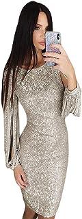 Vestido de Noche de Las Mujeres Vestido de Noche de Moda de Las Mujeres Lentejuelas Cuello Redondo con Flecos Vestido Delgado de Manga Larga para Aniversario Cóctel Fiesta Banquete Bola Ocasi
