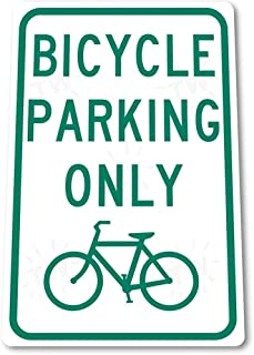 Tin Sign 8x12 inches Bicycle Parking Only Tin Metal Sign