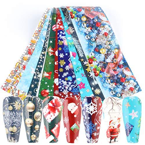 10 Sheets Christmas Nail Foil Transfer Stickers New Year Nail Art Supplies Winter Nail Foils Nail Art Decals Xmas Snowflake Snowman Santa Claus Bell Design Acrylic Nails Supply Manicure Tips Decor