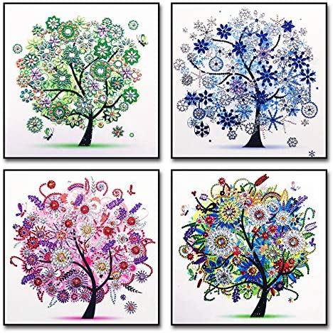 4 Pack 5D DIY Diamond Painting Kits Diamond Painting Tree for Adults Kids Crafts Drill Crystal product image