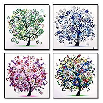 4 Pack 5D DIY Diamond Painting Kits,Diamond Painting Tree for Adults Kids Crafts Drill Crystal Rhinestone Embroidery Pictures Arts Craft Home Wall Decor  Spring+Summer+Fall+Winter