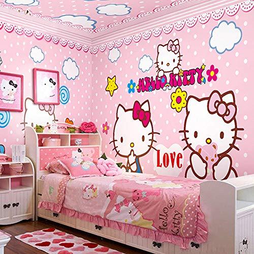 TV hintergrund wand schlafzimmer KTV tapete thema hotel kinderzimmer cartoon tapete HELLOKITTY catpaste grenze effekt unter schlafzimmer200cm×140cm