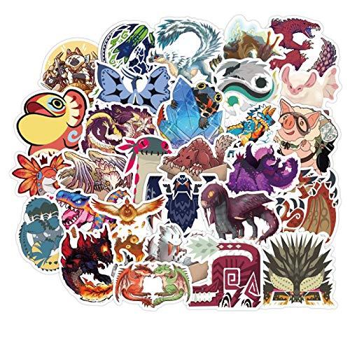 WYDML Caricatura Monster Hunter Maleta Pegatina Estuche de Viaje Laptop Skateboard Etiqueta Impermeable 50 Uds