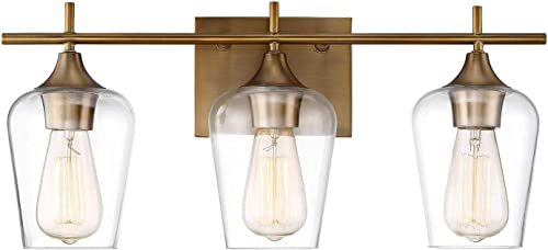 """popular Savoy House 8-4030-3-322 Octave 3-Light Bathroom Vanity Light in a discount Warm Brass Finish with Clear Glass online sale (21"""" W x 9"""" H) online sale"""