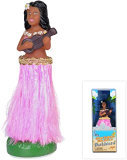 WEY&FLY Hawaiian Hula Girl with Ukulele, Bobble Head for Cars, Dashboard Bobble Shaker Doll, Collection Figurines Gifts for Decoration Souvenirs (Pink)