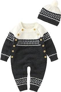 2 قطع طفل الفتيات الفتيان رومبير +قبعة الرضع الشتاء محبوك سترة بذلة ملابس الأطفال مجموعات (Color : Gray, Size : 0-3 Months)