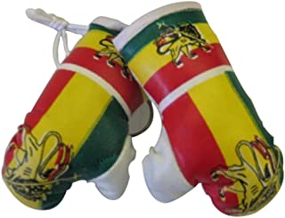 Flag Mini Small Boxing Gloves to Hang Over Car Automobile Mirror – Asia & Africa (3-Pack, Country: Ethiopia)