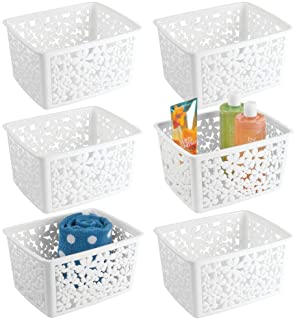 mDesign Plastic Bathroom Storage Basket Bin for Organizing Hand Soaps, Body Wash, Shampoos, Lotion, Conditioners, Hand Towels, Hair Accessories, Body Spray - Large, Floral Design, 6 Pack - White