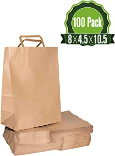 8 X 4.5 X 10.5 Brown Kraft Paper Gift Bags Bulk with Handles [100Pc]. Ideal for Shopping, Packaging, Retail, Party, Craft, Gifts, Wedding, Recycled, Business, Goody and Merchandise Bag