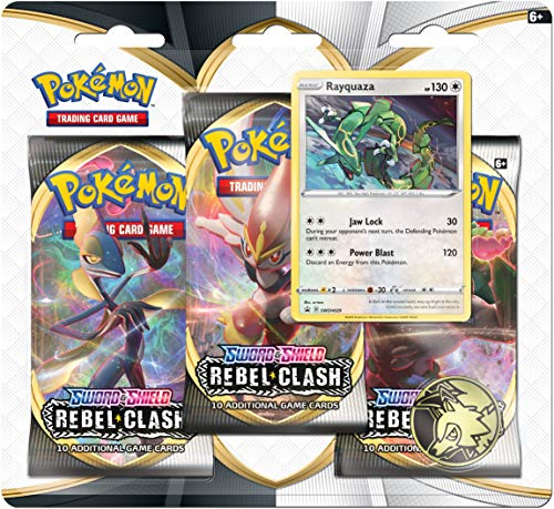 Pokemon TCG: Sword & Shield Rebel Clash Blister Pack with 3 Booster Packs and Featuring Rayquaza