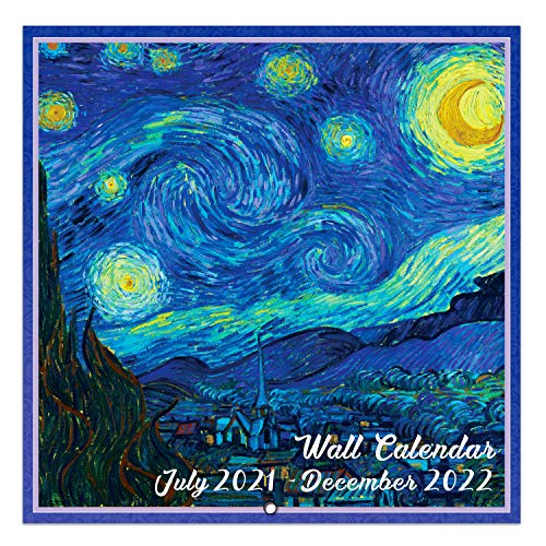 """2021-2022 Wall Calendar - 18 Month Monthly Wall Calendar, Jul. 2021 - Dec. 2022, 12"""" x 24"""" (Open), Unruled Blocks with Thick Paper - Art Paintings"""