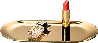 IMEEA Vanity Tray Cosmetic Makeup Organizer Bathroom Serving Stainless Steel (23 x 9.5cm) (Gold) (S)