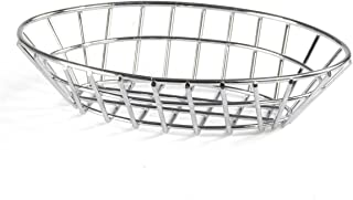 FixtureDisplays Oval Wire Steel Basket Chrome Anodized For Restaurants Cafes 119966-FBA