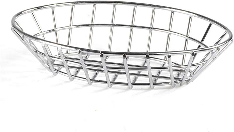 Displays2go Oval Bread Baskets Wire Fruit Bowls For Tabletop Presentations Stainless Steel Set Of 10