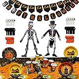 Set completo di decorazioni per Halloween, 88 pezzi - Tutto in un unica confezione - Ideale come regalini per feste di Halloween - Contiene 12 piatti di carta, 12 tazze, 15 palloncini, grande tovaglia