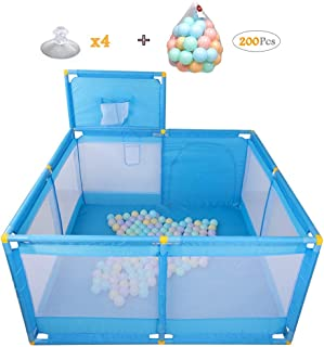 WJSW Household Protective Fence Baby Playpen with Basket Frame Children s Compact Strong Play Yard Toys Washable Ball Pool 128x66cm Blue