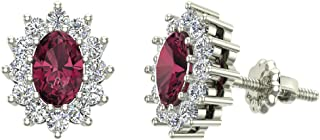 Oval Garnet & Diamond Earrings January Birthstone 14K White Gold Distinct Diamond Halo Studs 1.50 ctw