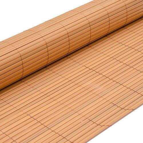 EYEPOWER PVC Sichtschutzmatte 90x400cm Hellbraun Windschutz Sichtschutz Doppelstabmatten Gartenzaun Terrasse Zaun
