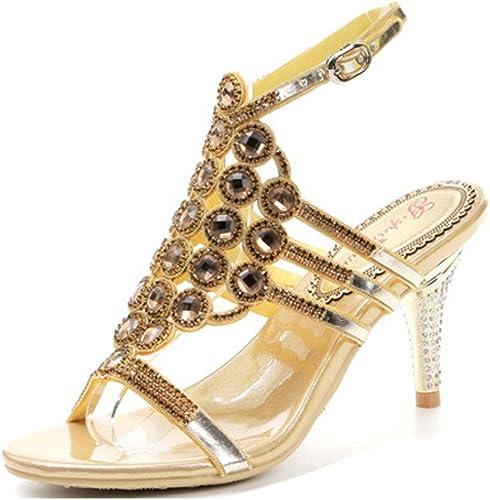 SASA Nouvelles Chaussures à Talons Hauts Sexy d'été des Femmes avec la tête Ronde percée Strass Boucle avec des Sandales à Bout Ouvert, oren, US9.5-10 EU41 UK7.5-8 CN42