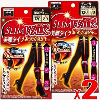 【2個】スリムウォーク 美脚タイツあったか満足プラス S-Mサイズ ブラックx 2個 (4902522672122-2) 2017秋冬モデル