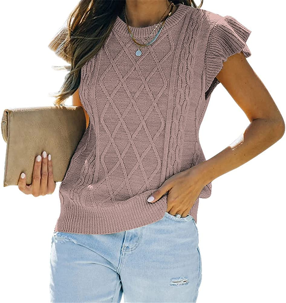 Ymoshoe Sweater Vest Women Ruffle Sleeves Pullover Cable Knit Crew Neck Sweaters Tank Tops