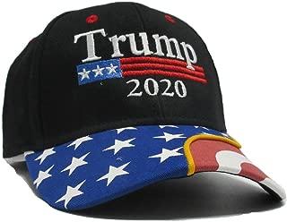 Trump 2020 Black Cap US Flag Keep America Great hat President