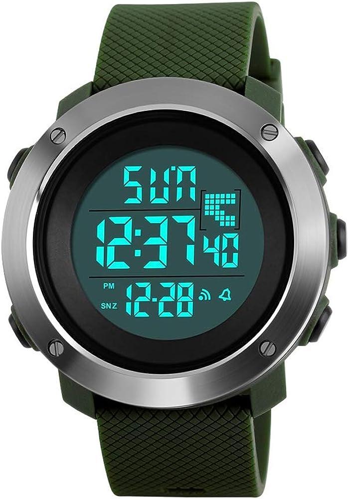 FeiWen Multifuncional Outdoo Militar Deportivo 50M Impermeable Relojes de Pulsera de Unisex LED Electrónica Digitales Reloj Doble Tiempo Cronógrafo