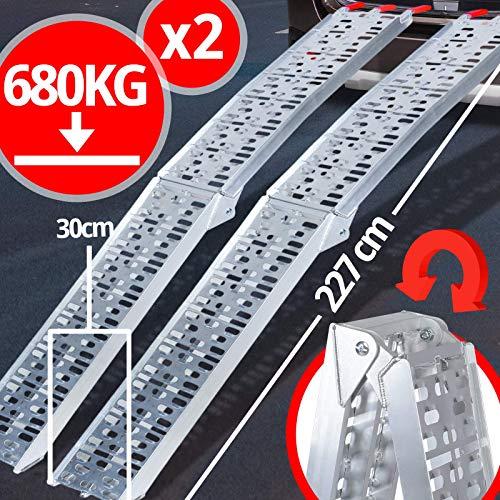 VENDOMNIA Auffahrrampe 340kg 680kg - 227x30cm, aus Aluminium, klappbar, Antirutsch – Auffahrschiene, Verladeschiene, Laderampe, Anhängerrampe, Verladerampe, Fahrrampe für Motorrad, Anhänger 2er Set