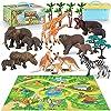 Tagitary 動物のフィギュア 22pcs 収納ボックス付き 野生動物セット 子供用おもちゃ 誕生日プレゼント 動物園 森の情景コレクション 定番玩具 収納便利 豪華セットキッズおもちゃ