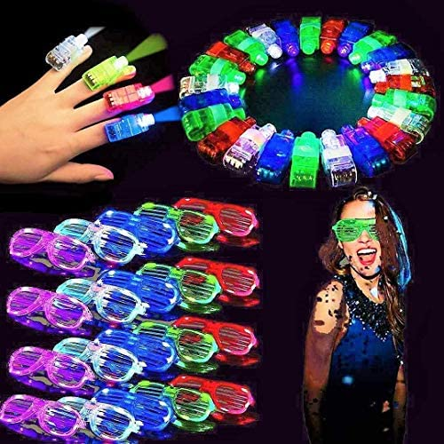 fluffy 40 Pack LED Light Up Glasses and Light Up Finger Light Grow Party Favors 20 Glow Sticks product image