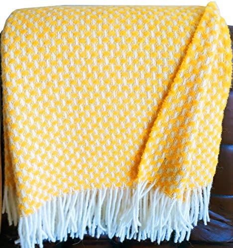 Plaids & Co Manta 100% lana virgen de Nueva Zelanda, manta de lana virgen con flecos, 140 x 200 cm, manta de lana, manta para...