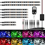 Nilight TL-42 8PCS Motorcycle RGB Led Kit Waterproof Multi-Color Atmosphere Lights Lamp with 4Key RF Wireless Remote for Harley Davidson Honda Kawasaki Suzuki, 2 Years Warranty