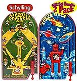 Schylling Classic 10' Pinball Games Space Race & Home Run! Baseball Gift Set Bundle - 2 Pack