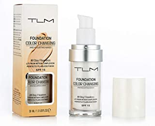 TLM Flawless Colour Changing Warm Skin Tone Foundation, Makeup Base Nude Face Liquid Cover Concealer