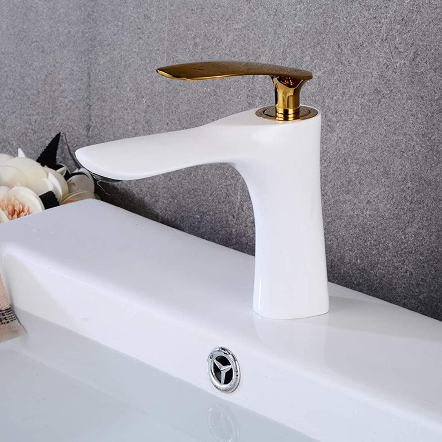 Bathroom Sink Tap White with gold Basin Faucets Bathroom Faucet Single Handle Basin Mixer Tap Hot and Cold Water Tap Basin Faucet