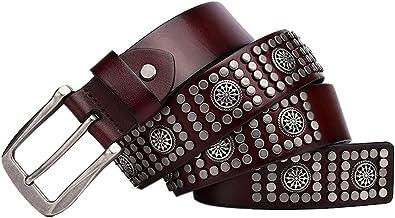 SSMDYLYM Lederen legering nagels klinknagel riemen Top lederen riem Unisex Jeans accessoires (Color : Brown, Size : 120 CM)