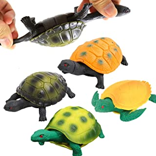Turtle Toys5 Inch Rubber Tortoise Turtle Sets(4 Pack)Great Safety Material TPR Super StretchyCan Hide In ShellValeforToy S...