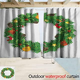 AndyTours Print Customized Curtains,Christmas Festive Wreath Evergreen with Candy Cane Stockings Mistletoe Berries on Door,Blackout Draperies for Bedroom,W72x72L Inches Green White
