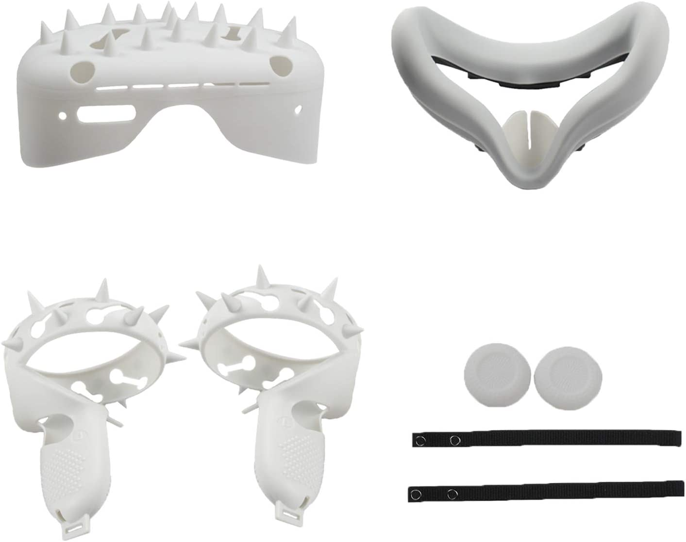 Gazechimp Soft VR Touch Controller Grip Cover for Oculus Quest 2 Headset Pad Cushion Skin Spike Style Shock-Resistant - White