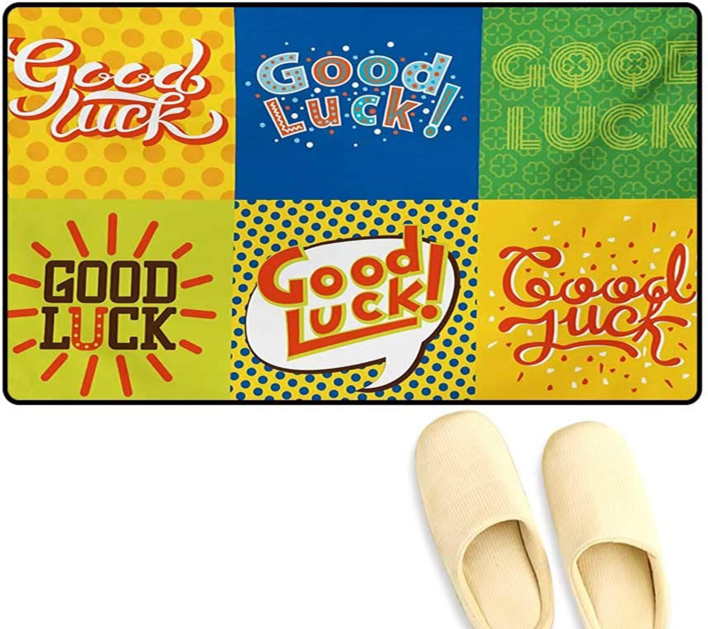 Door-mat,Lucky Phrase Text Farewell Comic Book Pop Artwork Retro Typography Print,Bathroom Mat Tub Non Slip,Multicolor,20 x32