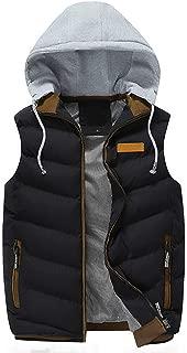Sunhusing Autumn Winter Men's Detachable Hooded Thick Vest Outwear Large Size Cotton-Padded Gilet Coat