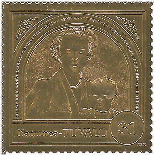 22ct Golf Blatt 40. Hochzeitstag britischen Queens Elizabeth II und Victoria MNH stamp/Tuvalua