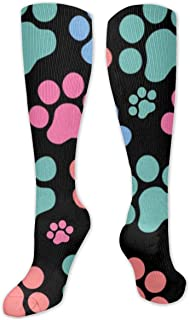 TongGuYunShangMaoYouXianGongSi, Calcetines Altos ~ Calcetines coloridos divertidos con estampado de pata de mujer Calcetín 50CM