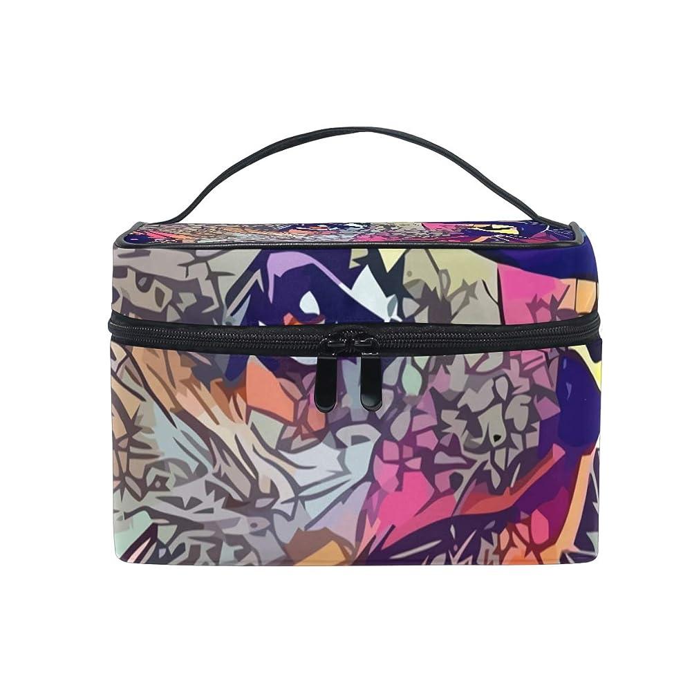 誘う処方するうなずくメイクボックス 抽象的な形柄 Meerkat柄 化粧ポーチ 化粧品 化粧道具 小物入れ メイクブラシバッグ 大容量 旅行用 収納ケース