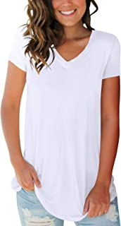 Women's Tops Short Sleeve V Neck T Shirts Summer Basic Tees with Pocket