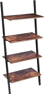 KingSo Ladder Shelf, 4-Tier Leaning Bookshelf Plant Shelf Storage Rack Shelves for Living Room Kitchen Home Office Multipurpose Industrial Ladder Shelves Leaning Book Shelf Metal Frame, Rustic Brown