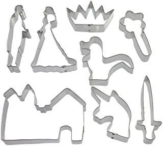 Damsel In Distress Cookie Cutter Set - 8 Pieces - 4.5 in Sword, 5.25 in Prince, 5 in Princess, 4 in Unicorn, 3.75 in Wand, 3.5 in Crown, 5.25 in Castle, 3.5 in Dragon - Foose Cookie Cutters
